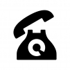 黒電話の白黒シルエットイラスト04