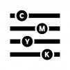 CMYKスライダーの白黒シルエットイラスト