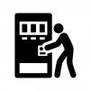 自動販売機で飲み物を買う人の白黒シルエットイラスト