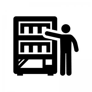 自動販売機で飲み物を買う人の白黒シルエットイラスト02