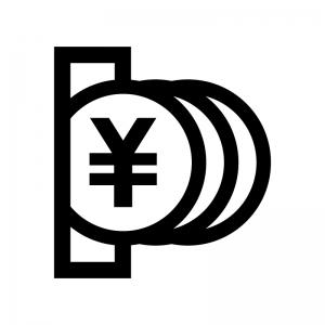 コイン投入の白黒シルエットイラスト