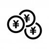 重なった円コインの白黒シルエットイラスト02