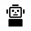 ロボットの白黒シルエットイラスト