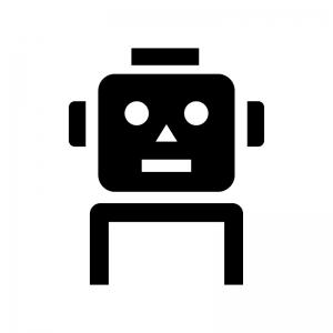 ロボットの白黒シルエットイラスト02