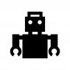 ロボットの白黒シルエットイラスト03