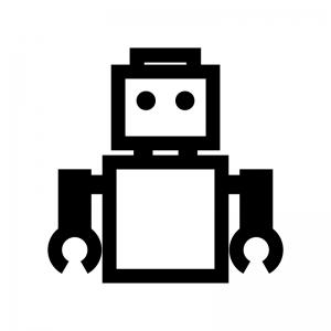 ロボットの白黒シルエットイラスト04
