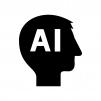 AI・人工知能の白黒シルエットイラスト