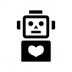ロボットとハートの白黒シルエットイラスト