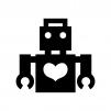ロボットとハートの白黒シルエットイラスト02