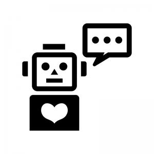 しゃべるロボットの白黒シルエットイラスト