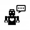しゃべるロボットの白黒シルエットイラスト02