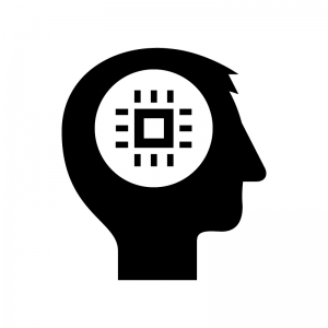 AI・人工知能の白黒シルエットイラスト04