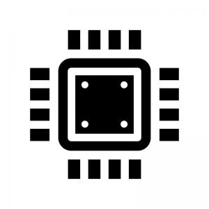 CPUの白黒シルエットイラスト