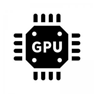 GPUの白黒シルエットイラスト