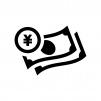 紙幣とコインの白黒シルエットイラスト
