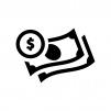紙幣とコインの白黒シルエットイラスト02