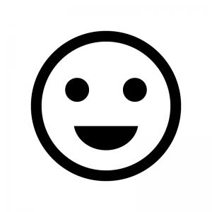 スマイル・笑顔の白黒シルエットイラスト02