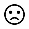 悩み・考え中の顔の白黒シルエットイラスト