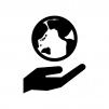 手と地球の白黒シルエットイラスト