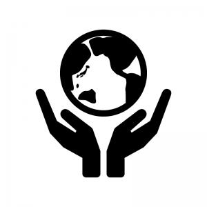 両手と地球の白黒シルエットイラスト