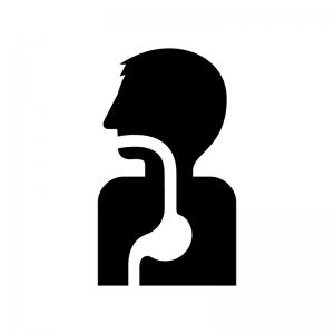 人と胃の白黒シルエットイラスト