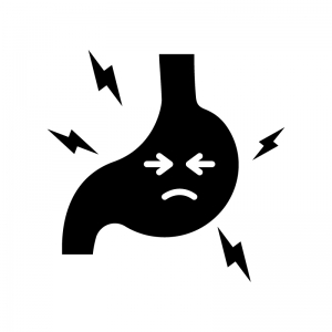 不健康な胃の白黒シルエットイラスト03