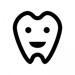 健康な歯の白黒シルエットイラスト