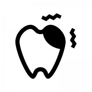 虫歯の白黒シルエットイラスト02