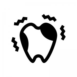虫歯の白黒シルエットイラスト03