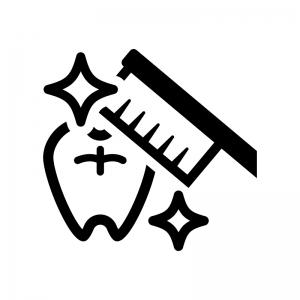 歯みがきの白黒シルエットイラスト02