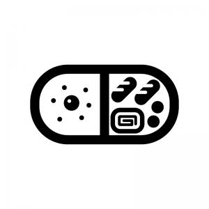 お弁当の白黒シルエットイラスト