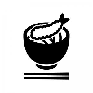 えび天そば・うどんの白黒シルエットイラスト02