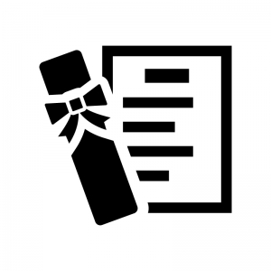 卒業証書の白黒シルエットイラスト04