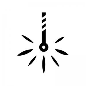 線香花火の白黒シルエットイラスト
