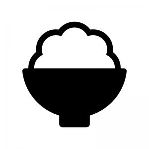 ご飯の白黒シルエットイラスト