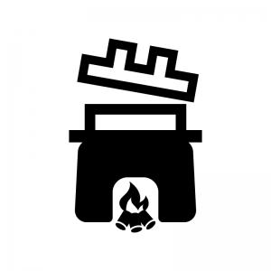 火とかまどの白黒シルエットイラスト02