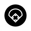 野球スタジアムの白黒シルエットイラスト03
