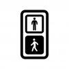 歩行者用信号機の白黒シルエットイラスト02