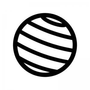 バランスボールの白黒シルエットイラスト