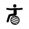 バランスボールでエクササイズの白黒シルエットイラスト