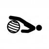 バランスボールでエクササイズの白黒シルエットイラスト02