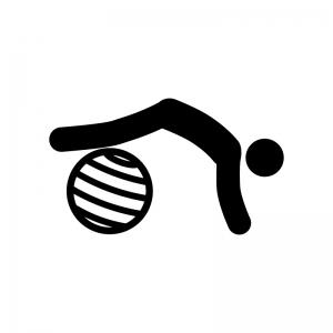 バランスボールでエクササイズの白黒シルエットイラスト03