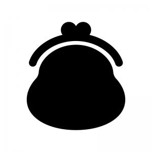 がま口財布の白黒シルエットイラスト03