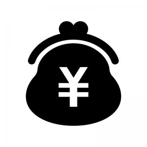 がま口財布の白黒シルエットイラスト04