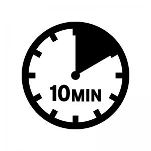 10分間の白黒シルエットイラスト