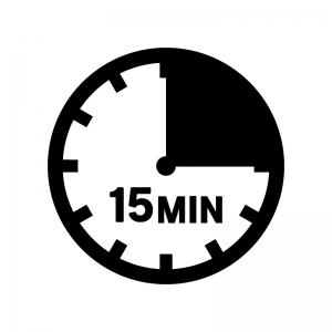 15分間の白黒シルエットイラスト