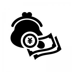 がま口財布とお金の白黒シルエットイラスト02