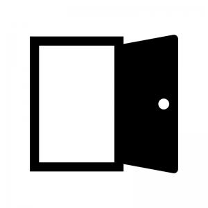 開いたドア・扉の白黒シルエットイラスト03
