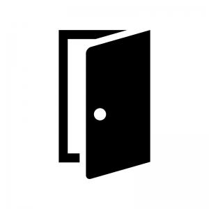 開いたドア・扉の白黒シルエットイラスト04