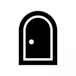 ドア・扉の白黒シルエットイラスト02
